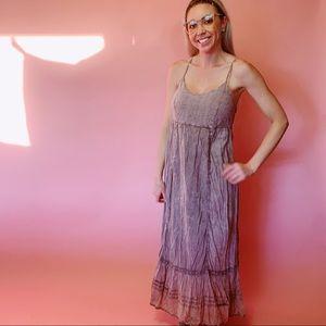 Flying High Lavender Eyelit Design Maxi Dress